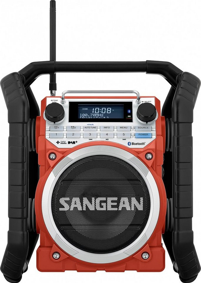 Sangean robustes Outdoor-/Baustellenradio (DAB+/UKW, Bluetooth, NFC, »U-4 DBT« in Rot