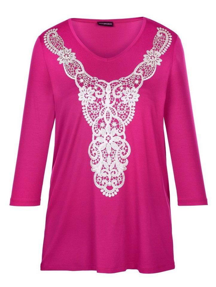 MIAMODA Shirt mit Spitzenmotiv in pink