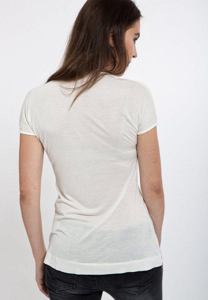 Mexx V-Shirt mit raffiniertem Ausschnitt in offwhite