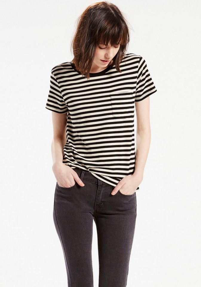 Levi's® T-Shirt in schwarz-wollweiß