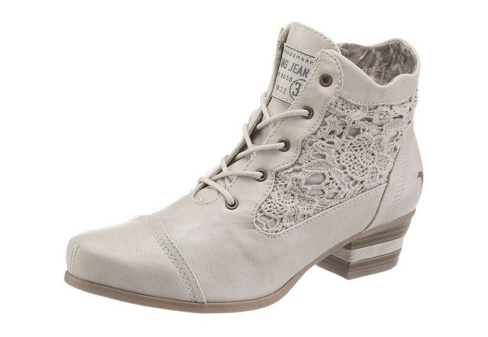 Mustang Shoes Schnürstiefelette in offwhite