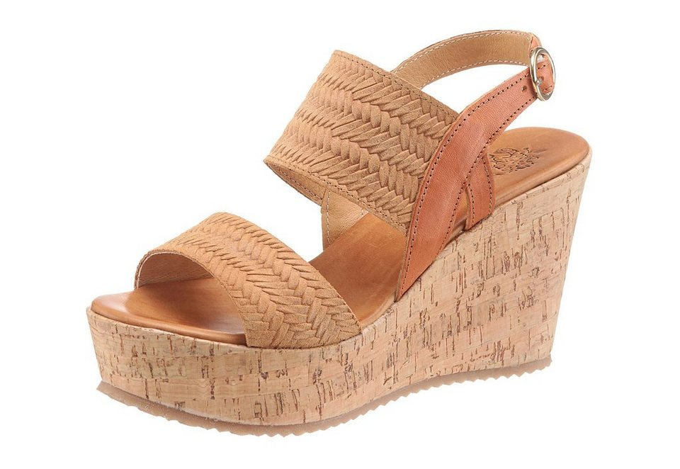 Apple of Eden »JULIA« Sandalette Bandage in Flecht-Optik in cognac