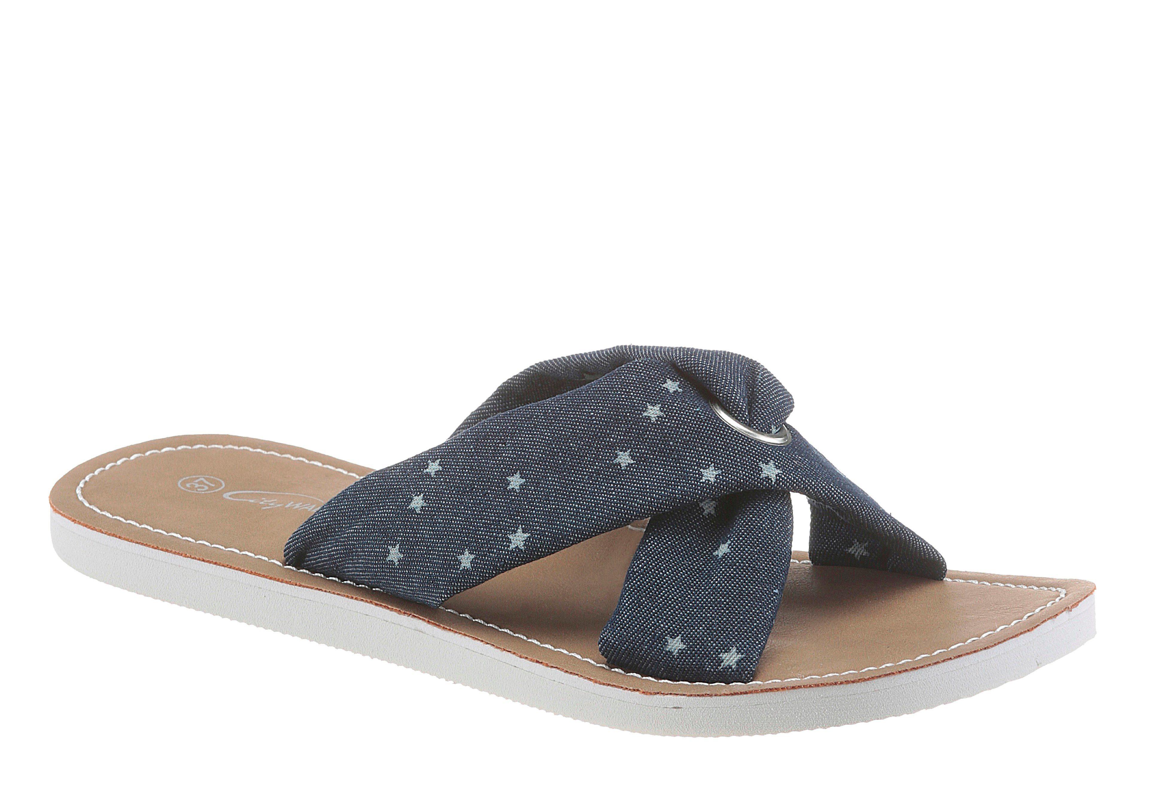 Rieker Pantolette, mit Schmuckelement, blau, EURO-Größen, dunkelblau