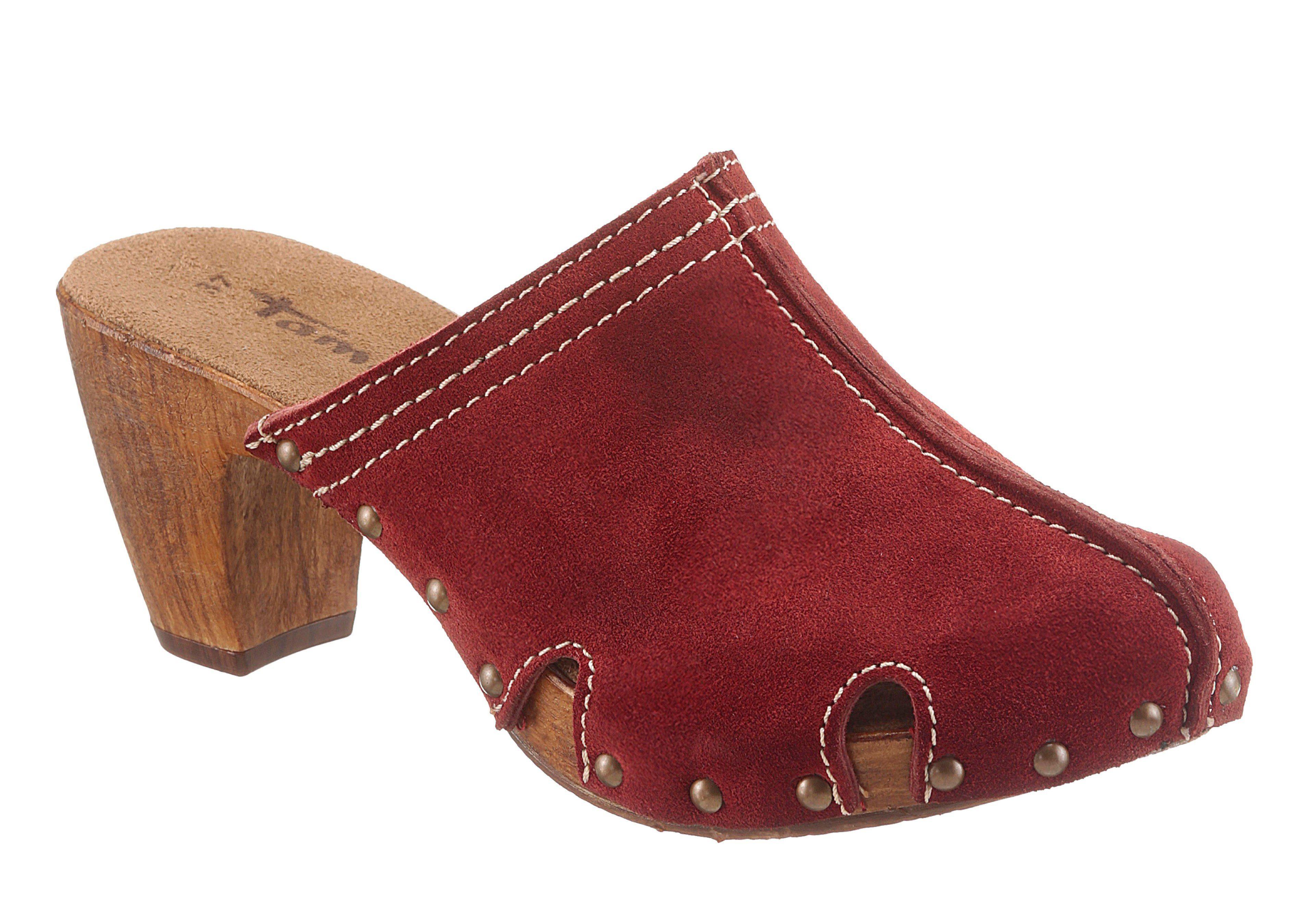 Tamaris Clog, mit Absatz in Holzoptik, rot, EURO-Größen, rot