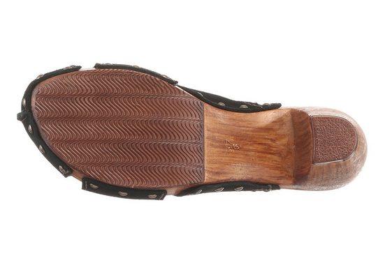 Tamaris Clog With Heel In Wood Optics