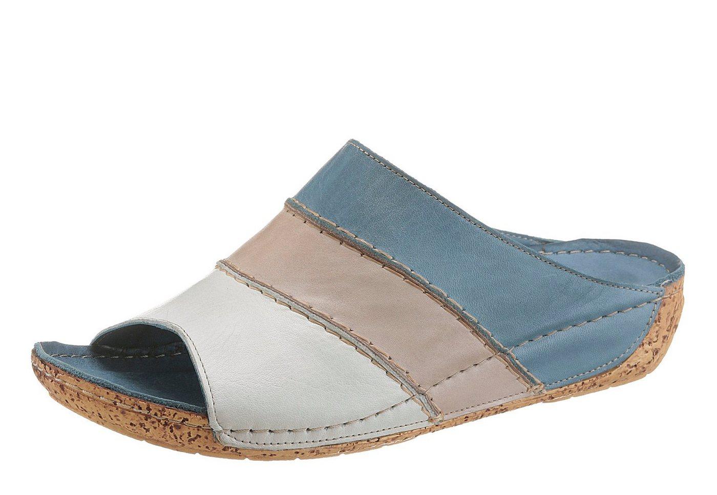 Gemini Keilpantolette in Patchwork-Optik   Schuhe > Clogs & Pantoletten > Keilpantoletten   Blau   Gemini
