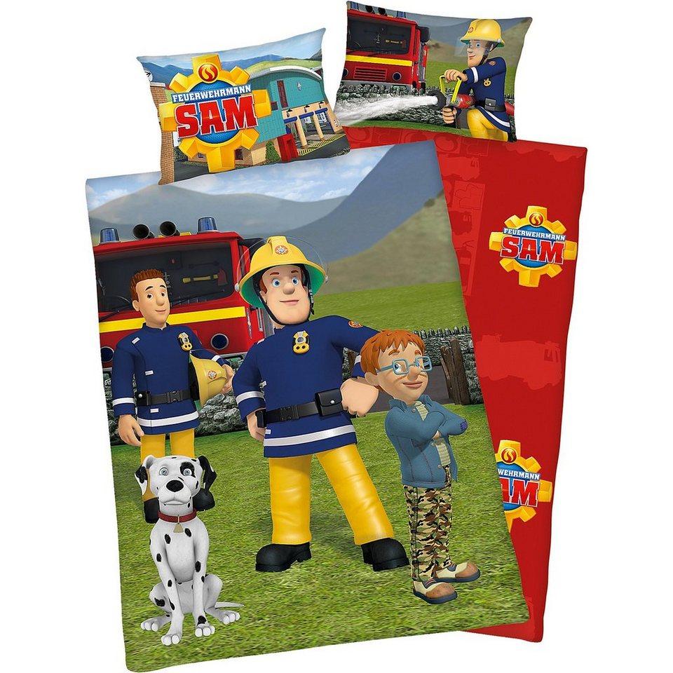 Herding Wende- Kinderbettwäsche Feuerwehrmann Sam, Flanell, 100 x 13 in mehrfarbig