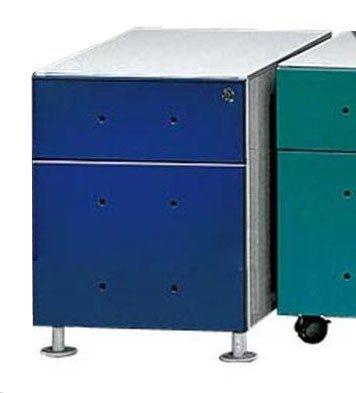 Kasper-Wohndesign Rollcontainer mit 1 Schublade und HR Ablage in blau »MIX« in blau, metallfarben