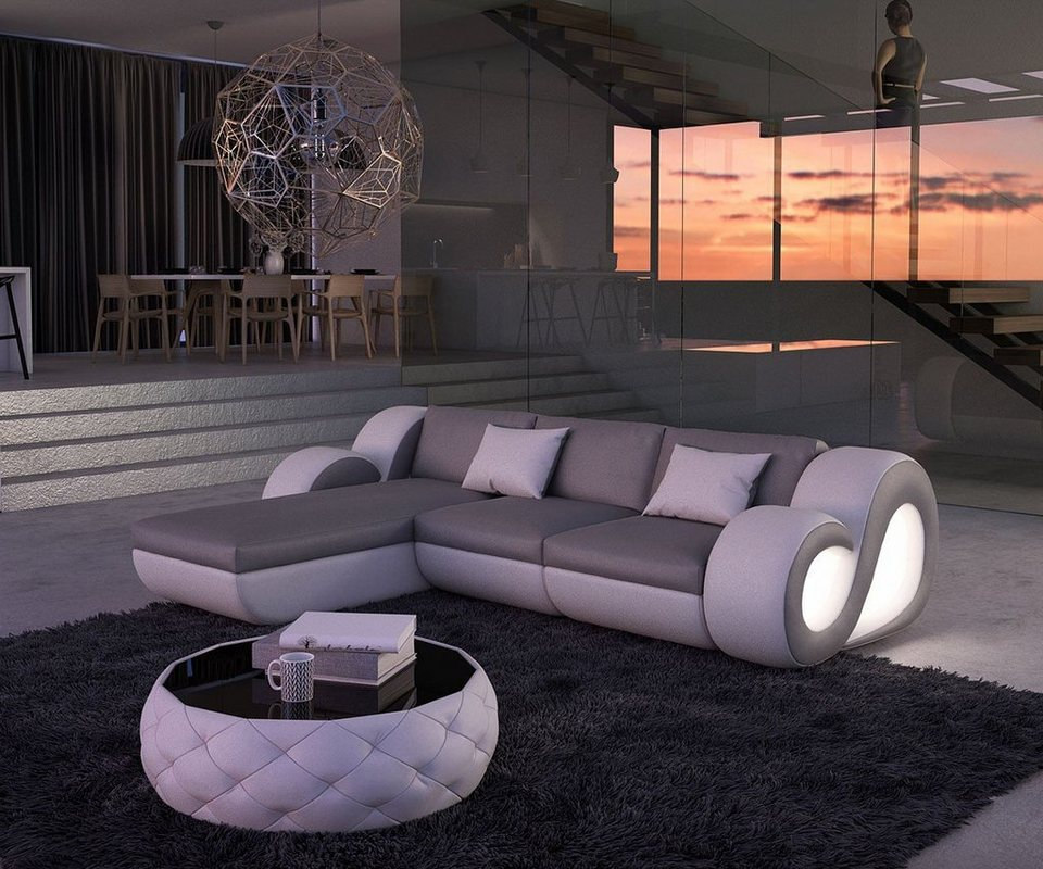 DELIFE Couch Nashville Grau Weiss 270x190 cm Ottomane variabel LED