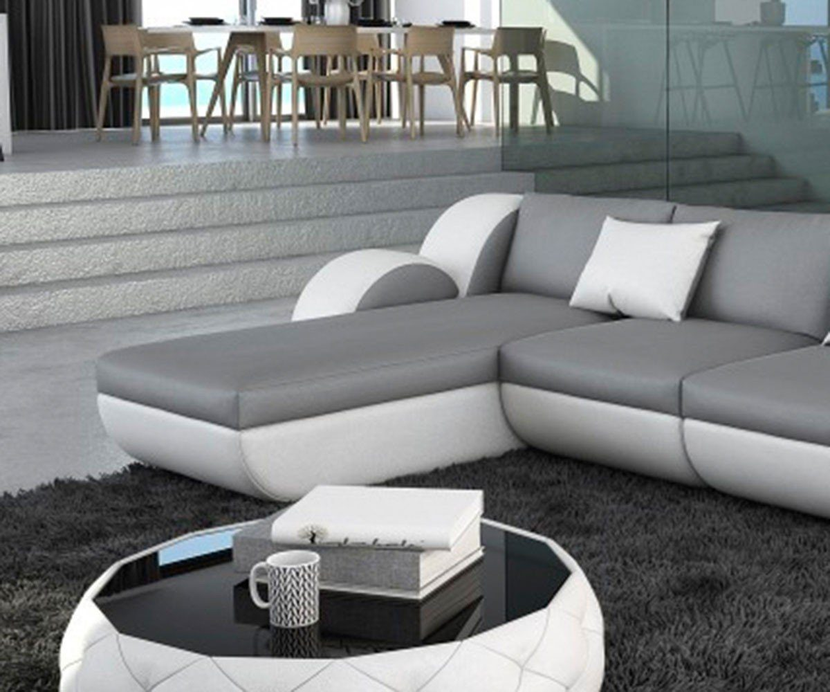 DELIFE Couch Nashville Grau Weiss 270x190 cm