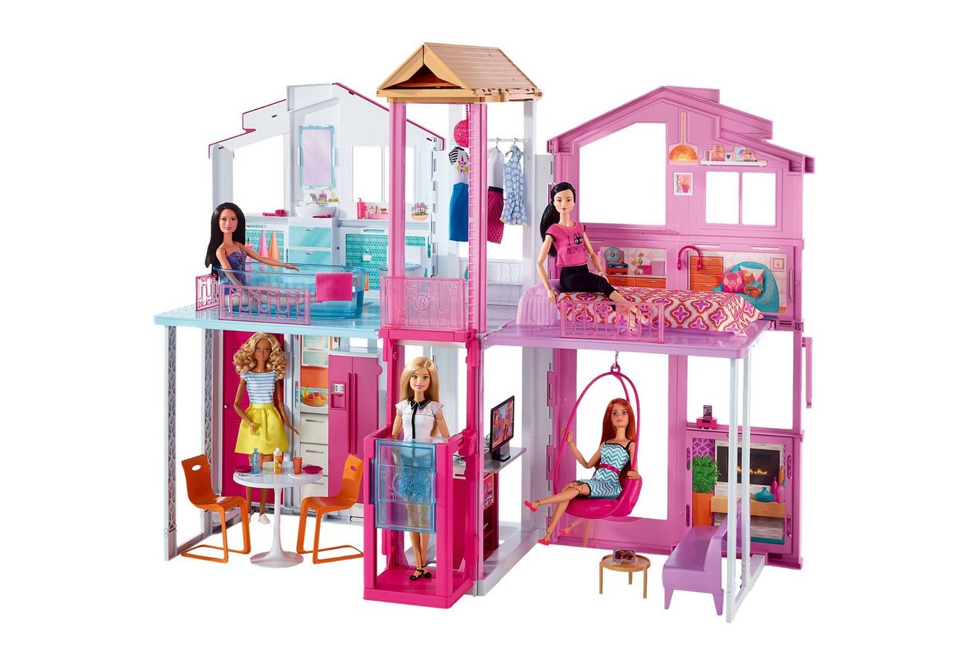 mattel barbie fab life 3 etagen stadthaus preisvergleich 3 etagen stadthaus g nstig kaufen. Black Bedroom Furniture Sets. Home Design Ideas