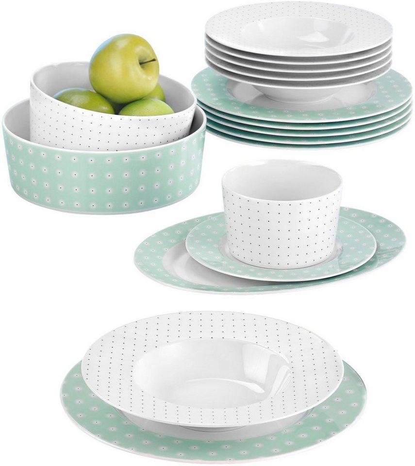 Seltmann Weiden Tafelservice, Porzellan, 16-teilig, »NO LIMITS« in weiß/mintgrün