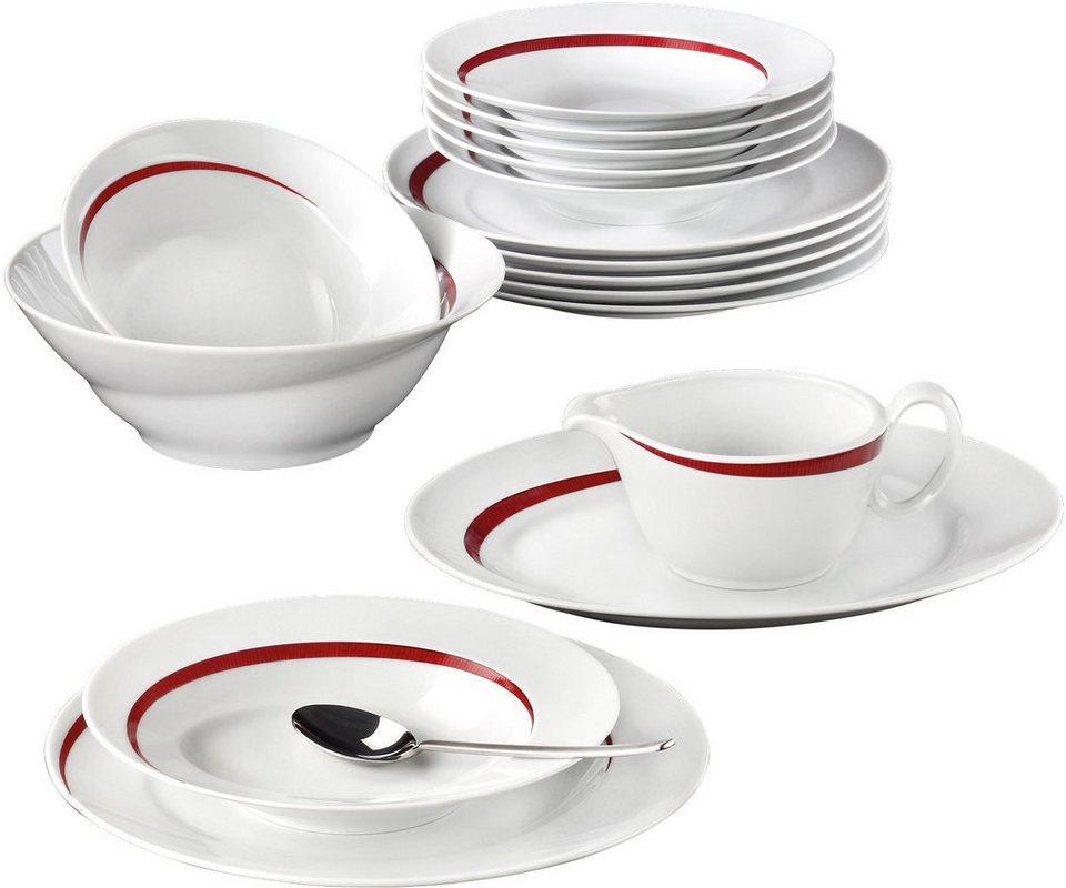 Seltmann Weiden Tafelservice, Porzellan, 16-teilig, »PASO BOSSA NOVA« in weiß/rot