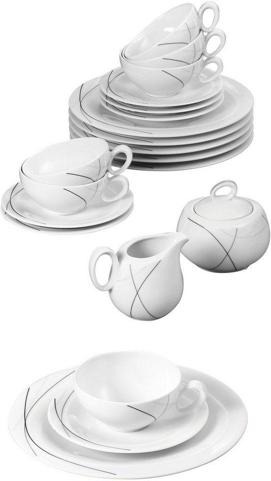 Seltmann Weiden Teeservice, Porzellan, 20-teilig, »TRIO HIGHLINE« in weiß/schwarz/grau
