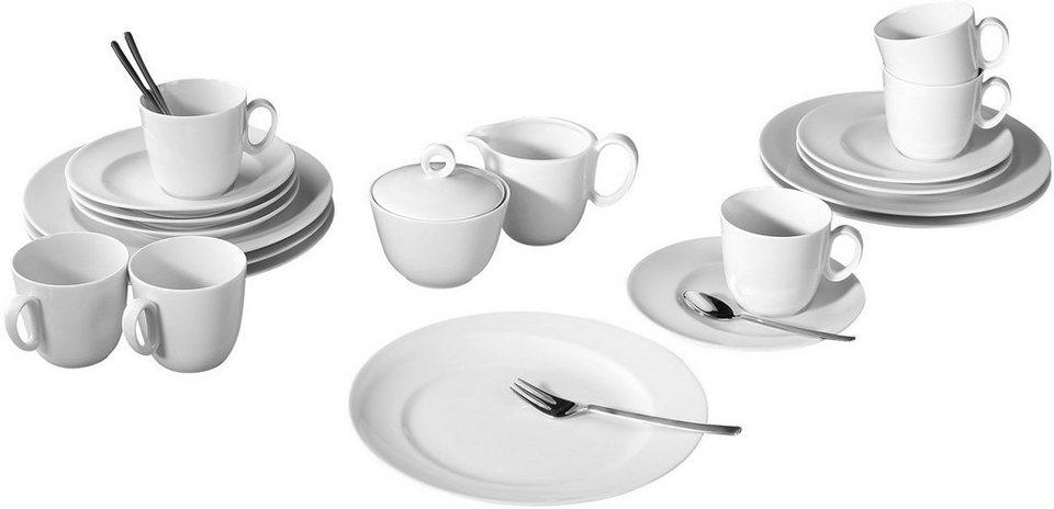 Seltmann Weiden Kaffeeservice, Porzellan, 20-teilig, »PASO« in weiß