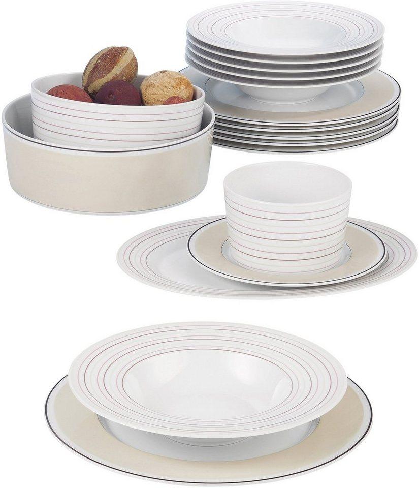 Seltmann Weiden Tafelservice, Porzellan, 16-teilig, »NO LIMITS Creame lines« in weiß/creme/braun