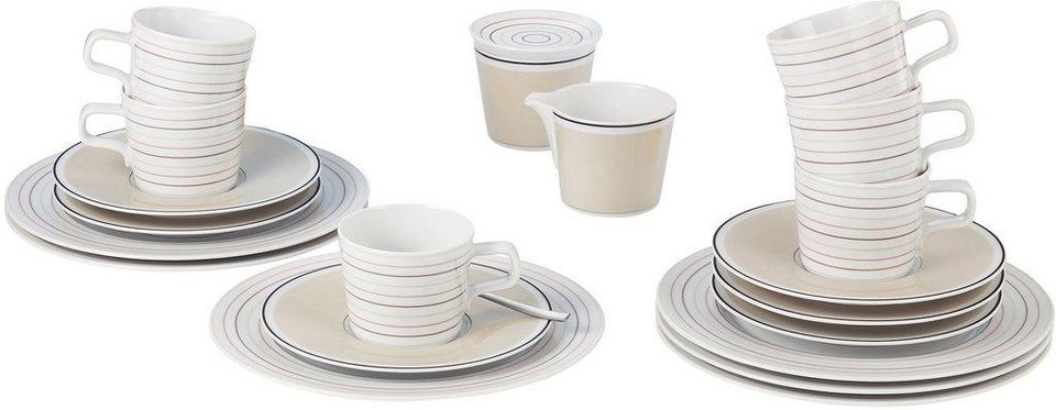 Seltmann Weiden Kaffeeservice, Porzellan, 20-teilig, »NO LIMITS Creame lines« in weiß/creme/braun