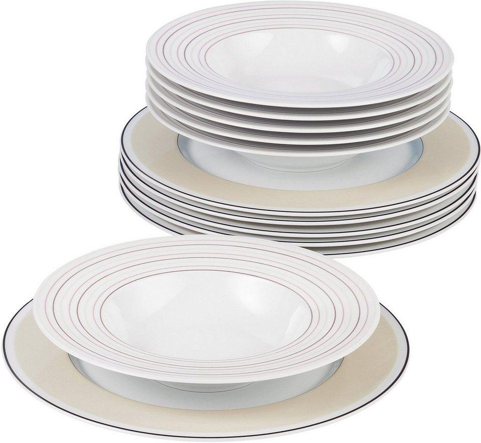 Seltmann Weiden Tafelservice, Porzellan, 12-teilig, »NO LIMITS Creame lines« in weiß/creme/braun