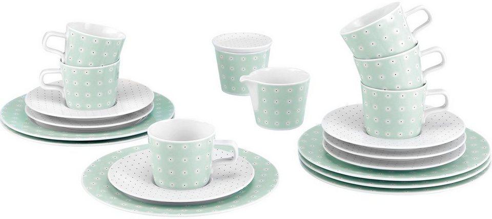 Seltmann Weiden Kaffeeservice, Porzellan, 20-teilig, »NO LIMITS« in weiß/mintgrün