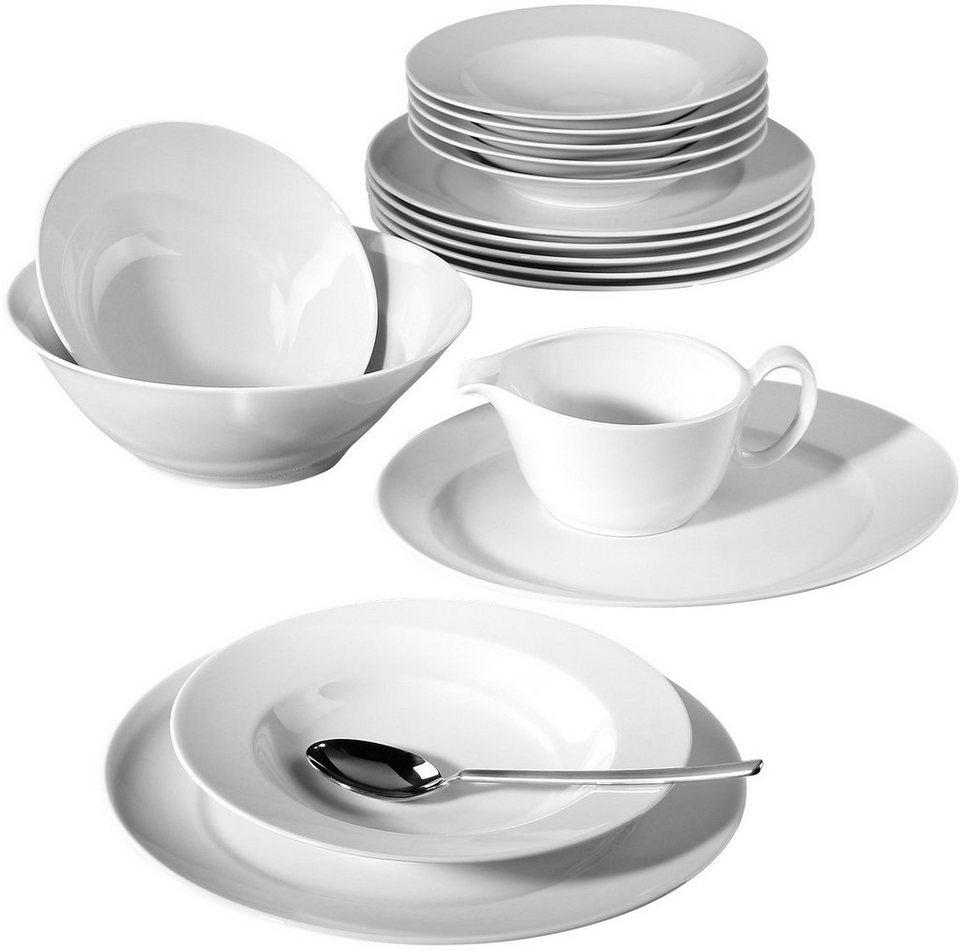 Seltmann Weiden Tafelservice, Porzellan, 16-teilig, »PASO« in weiß
