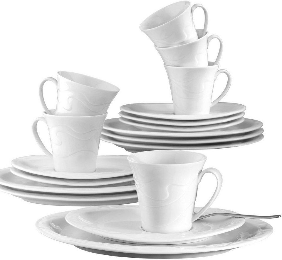 Seltmann Weiden Kaffeeservice, Porzellan, 18-teilig, »ALLEGRO« in weiß