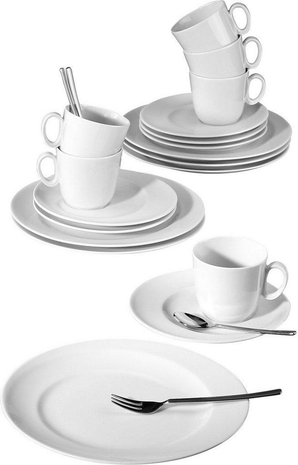 Seltmann Weiden Kaffeeservice, Porzellan, 18-teilig, »PASO« in weiß