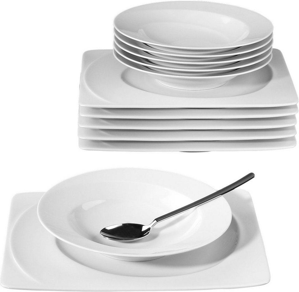Seltmann Weiden Tafelservice, Porzellan, 12-teilig, »PASO« in weiß