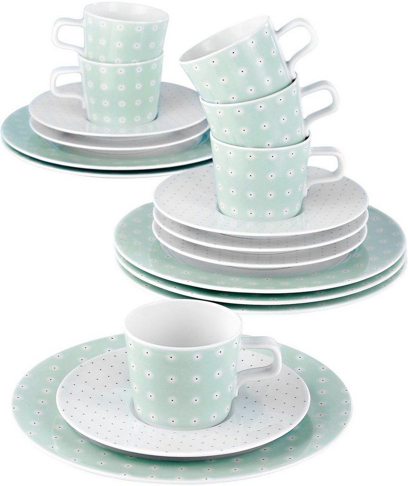 Seltmann Weiden Kaffeeservice, Porzellan, 18-teilig, »NO LIMITS« in weiß/mintgrün