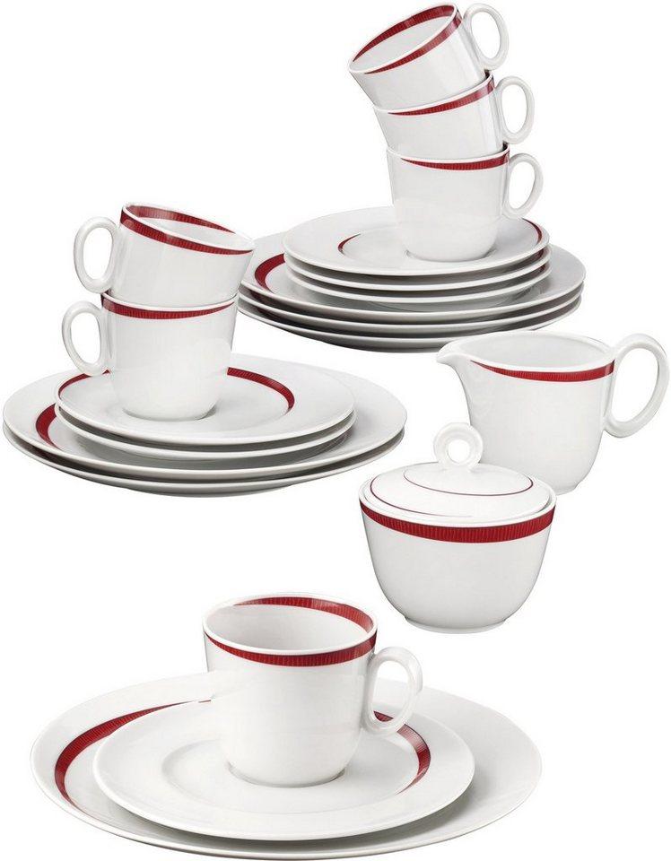 Seltmann Weiden Kaffeeservice, Porzellan, 20-teilig, »PASO BOSSA NOVA« in weiß/rot