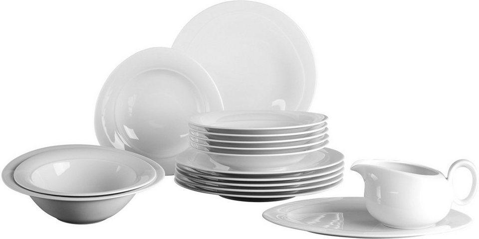 Seltmann Weiden Tafelservice, Porzellan, 16-teilig, »TRIO« in weiß