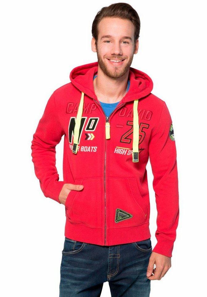 CAMP DAVID Kapuzensweatshirt in rot