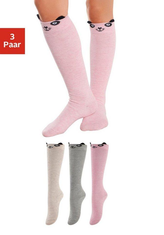 Kinder Kniestrümpfe (3 Paar) Pandadesign mit angesetzten Ohren in 1x grau meliert, 1x rosa, 1x cremeweiß