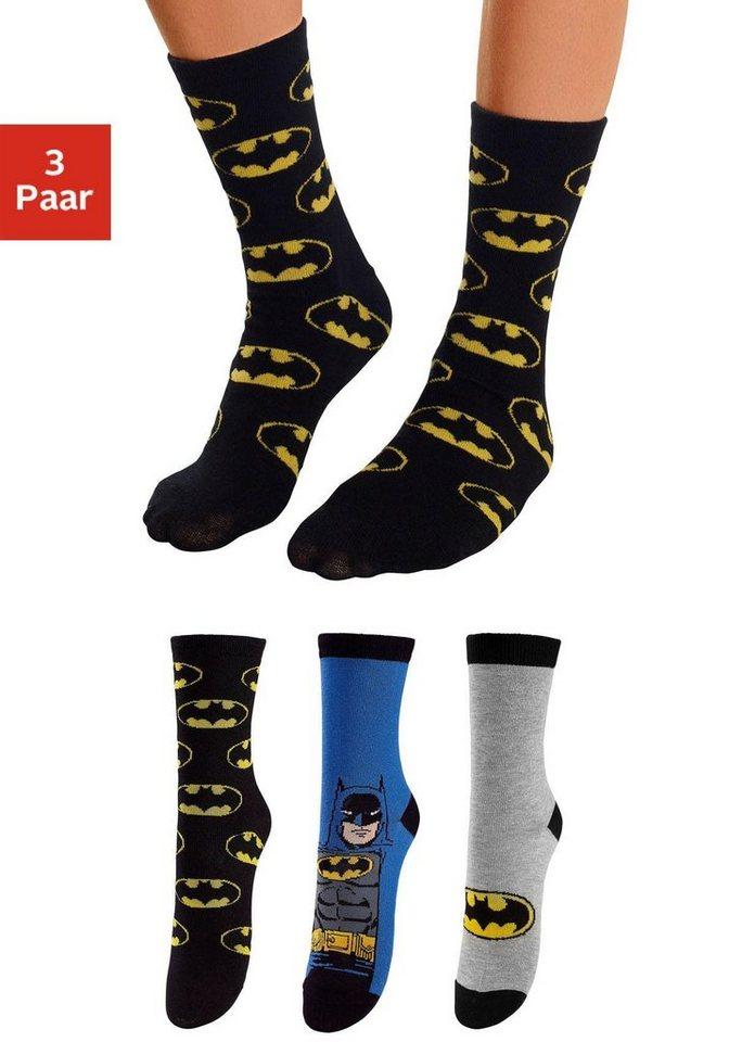 Batman Kindersocken (3 Paar) mit verschiedenen Motiven in 3x Batman Design