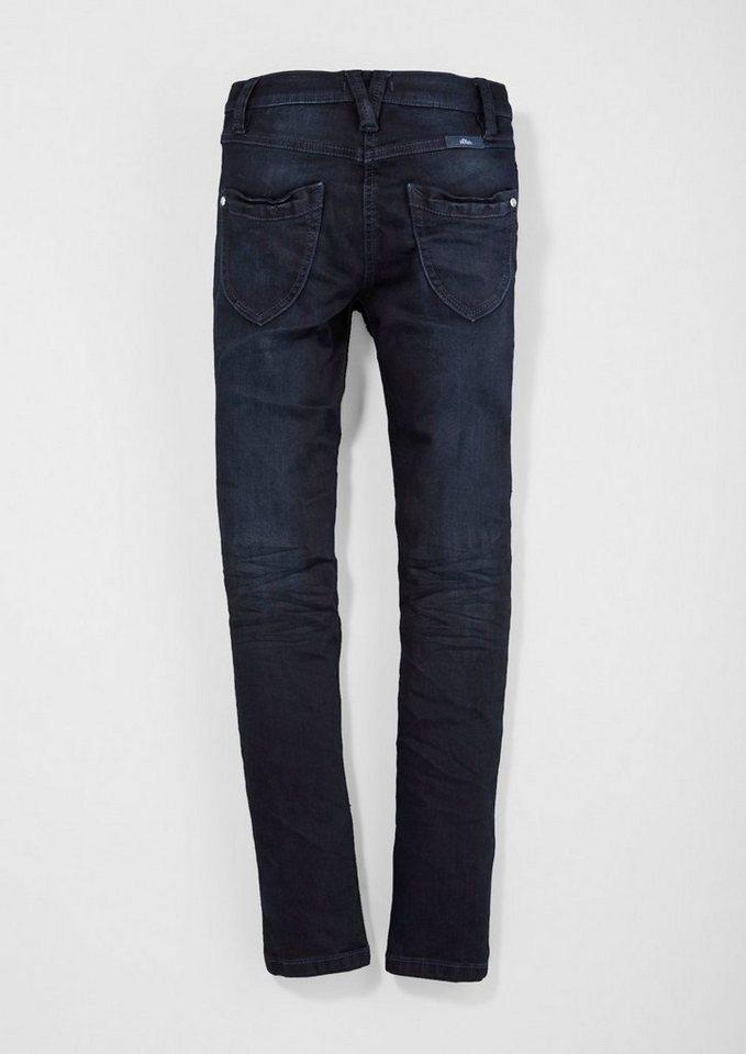 s.Oliver RED LABEL Junior Skinny Suri: Jeans mit Farbeffekt für Mädchen in blue denim stretch