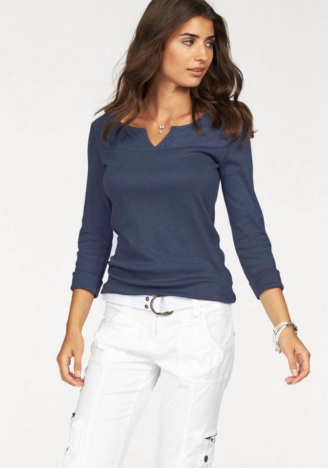 Boysen's Langarmshirt mit besticktem Einsatz in blau