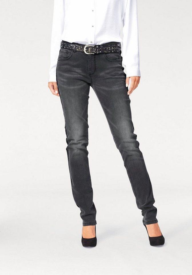 H.I.S 5-Pocket-Jeans »Marylin« mit Seitenstreifen in grey-black