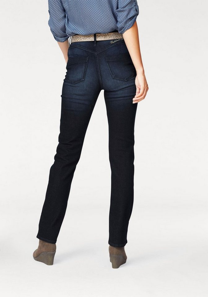Paddock's Gerade Jeans »KATE« mit Push-up Effekt in darkblue-used