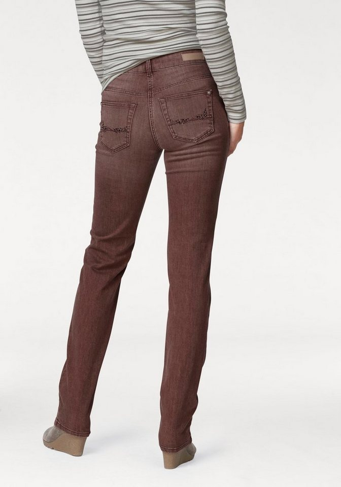 MAC 5-Pocket-Jeans »Angela Glam Pocket« Glitzersteinchen in rotbraun