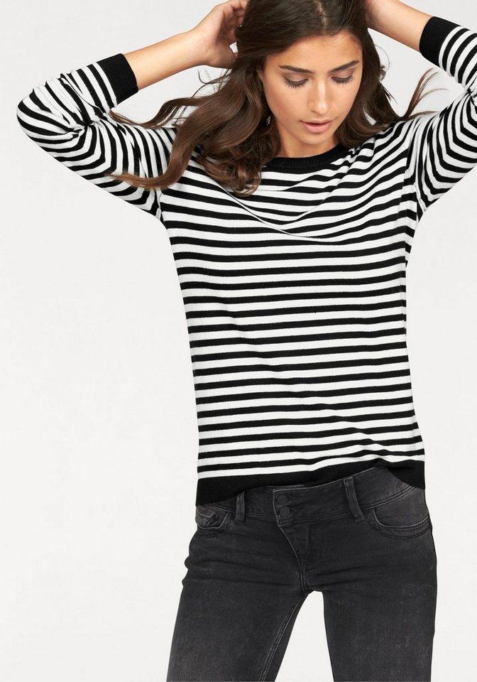 Cross Jeans® Strickpullover Allover geringelt in schwarz-wollweiß