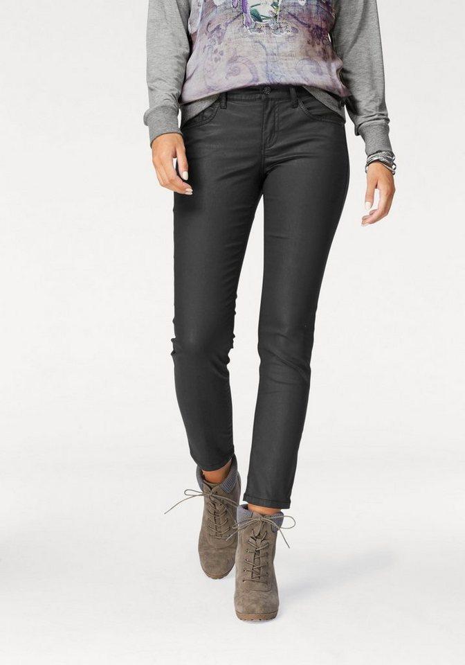 MAC Stretch-Jeans »Carrie Pipe Pocket« Allover beschichtet in schwarz