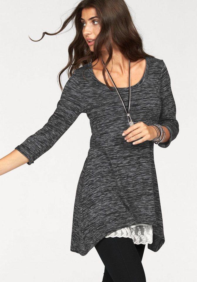 Boysen's Vokuhila-Shirt in hochwertiger Melange-Optik in grau-schwarz-meliert