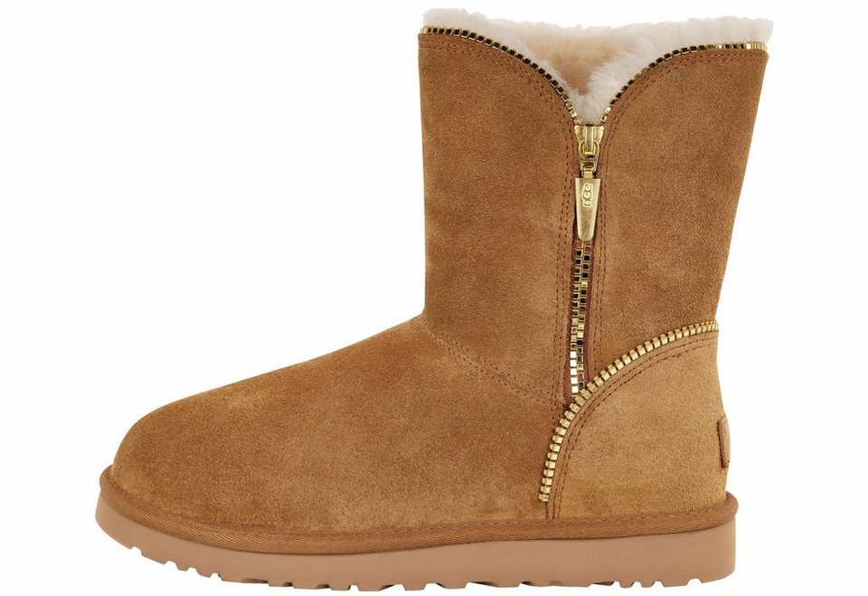UGG »Florence« Winterboots mit coolem Zipper-Detail in chestnut