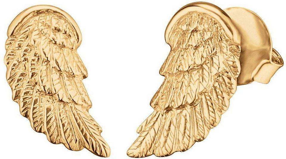 Engelsrufer Paar Ohrstecker, »Flügel, Where the Angels fly, ERE-WING-STG« in Silber 925-18 Karat vergoldet