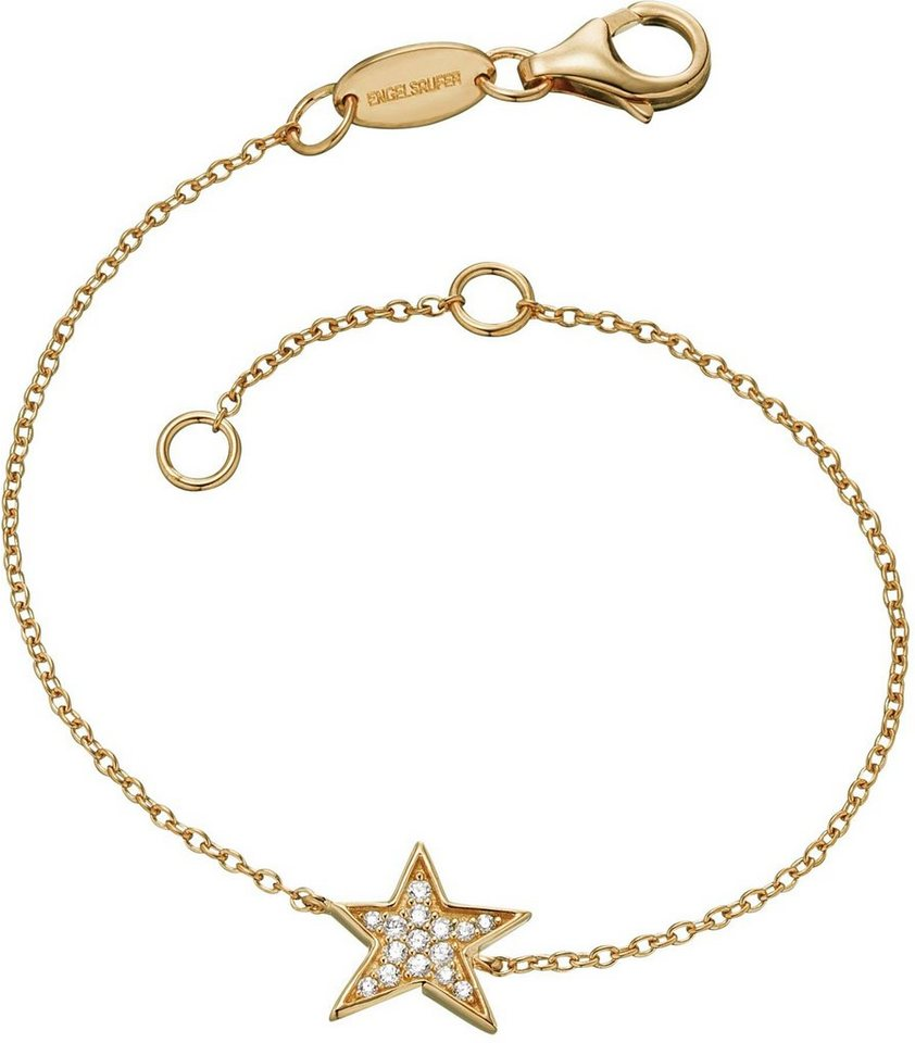 Engelsrufer Armband mit Zirkonia, »Stern, Lil', ERB-LILSTAR-ZI-G« in Silber 925-18 Karat goldfarben vergoldet