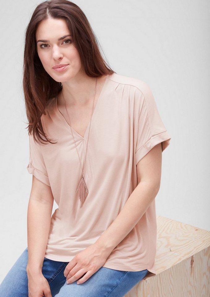 TRIANGLE Viskose-Shirt mit Y-Ausschnitt in nude