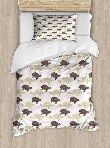 Bettwäsche »Top Qualität Weich und Warm 3 Teiligen Bettbezug mit 1 Kissenbezüge«, Abakuhaus, Tierkunst Sea Turtle Silhouettes