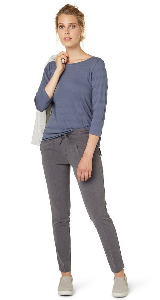 TOM TAILOR Hose »feminine loose fit pants« in dark charcoal grey