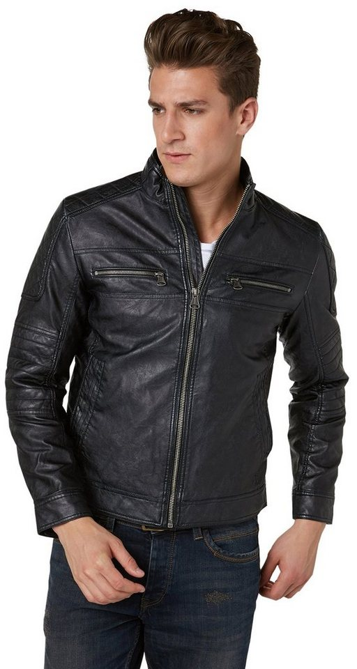 TOM TAILOR Lederjacke »Bikerjacke in Leder-Optik« in almost black