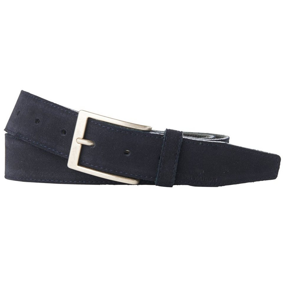 TOM TAILOR Gürtel »suede leather belt with stitching« in navy