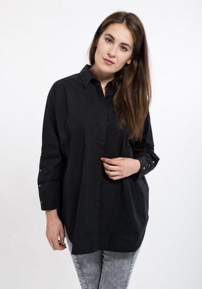 Mexx Hemdbluse mit tief angesetzten Ärmeln in schwarz